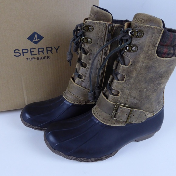 b592e6ab55b Sperry Saltwater Misty Duck Boots Side Zipper NIB